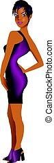 BlackWomanPurpleDress2 - Vector Illustration of a mixed...