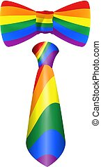 Rainbow tie and bow symbol LGBT. Isolated