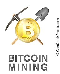 bitcoin mining logo with golden bitcoin on pickaxe and shovel