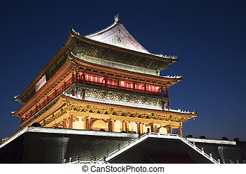 Drum Tower of Xi'an, downtown Xi'an Shaanxi province of...