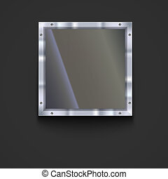 Glass plate with metal frame and bolts. Banner of glass and...