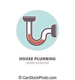 House plumbing service emblem with clogged pipe illustration...