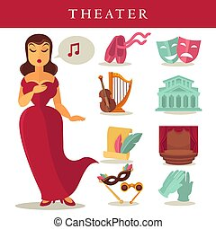 Theater or opera vector flat icons singer, ballet and stage...