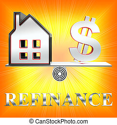 House Refinance Means Equity Loan 3d Rendering - House...