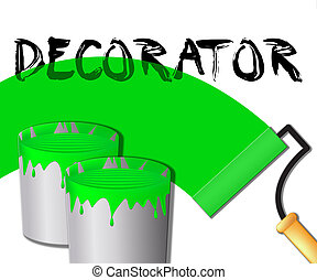 Home Decorator Displays House Painting 3d Illustration -...