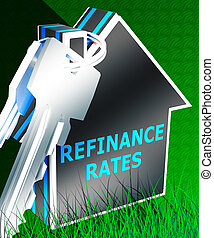 Refinance Rates Represents Equity Mortgage 3d Rendering -...