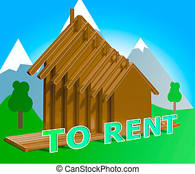 House To Rent Meaning Property Rentals 3d Illustration -...