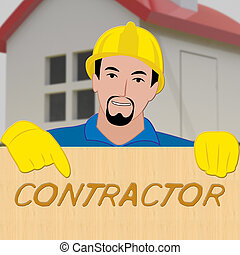 Building Contractor Showing Home Improvement 3d Illustration...