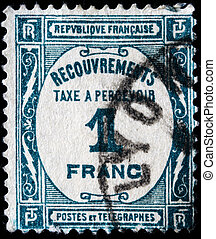 frank - FRANCE - CIRCA 1900s: A stamp printed in France...