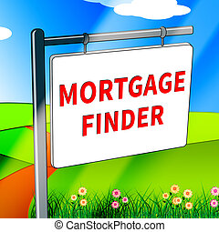 Mortgage Finder Represents Loan Search 3d Illustration