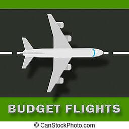Budget Flights Shows Special Offer 3d Illustration