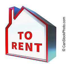 House To Rent Displays Property Rentals 3d Rendering - House...