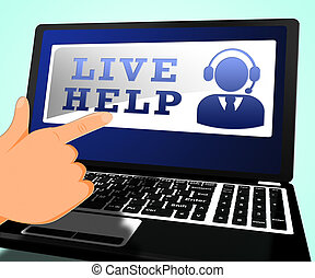 Live Help Shows Immediate Help 3d Illustration - Live Help...
