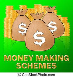 Money Making Schemes Means make Dollars 3d Illustration -...