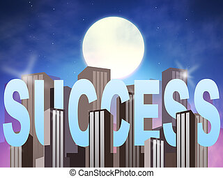 Success Buildings Means Triumphant Winning 3d Illustration -...
