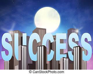 Success Buildings Means Triumphant Winning 3d Illustration -...