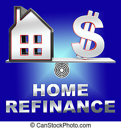 Home Refinance Showing Equity Mortgage 3d Rendering - Home...