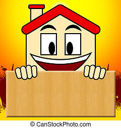 Blank House Sign Showing Home Copyspace 3d Illustration