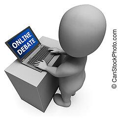 提示, オンラインで, レンダリング, 対話, インターネット, 討論, 3D