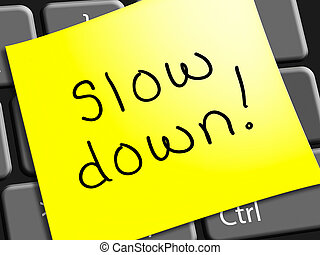 Slow Down Representing Going Slower 3d Illustration - Slow...