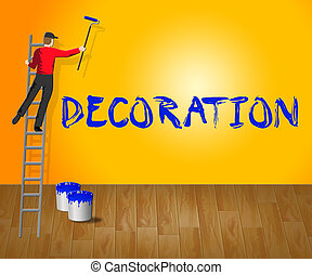 Home Decoration Shows House Painting 3d Illustration - Home...