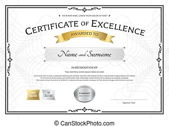 Certificate of excellence template with gold award ribbon on abstract guilloche background with vintage border style