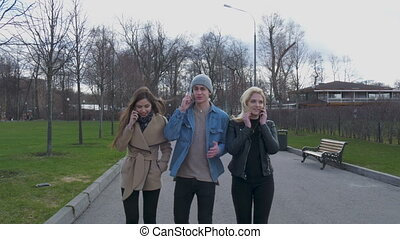 Young people, a guy and two girls are walking in the park...