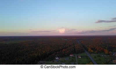 evening dusk sunset Aerial view of countryside, drone top...