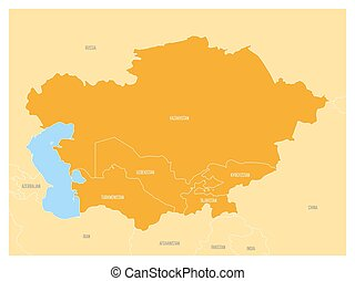 Map of Central Asia region with orange highlighted...