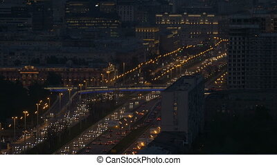 Very intense traffic on the streets of the city. In evening...