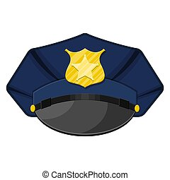 Police peaked cap with gold cockade. Vector illustration in...