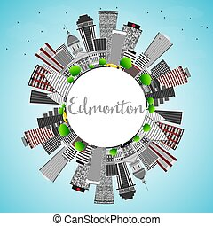 Edmonton Skyline with Gray Buildings, Blue Sky and Copy...