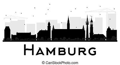 Hamburg City skyline black and white silhouette.