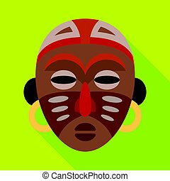African tribal mask.African safari single icon in flat style vector symbol stock illustration web.