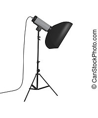 Studio flash with softbox on a stand isolated on white -...