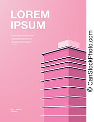 Advertising poster with abstract architecture. Pink background with skyscraper. Vertical placard with place for text. Colorful vector illustration.