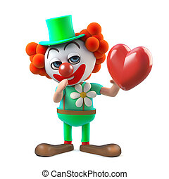 3d Funny cartoon clown character holding a red heart