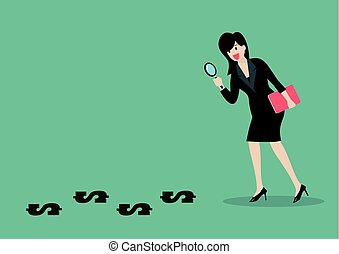 Detective business woman finding money. Business concept