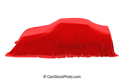 Presentation of the New Car isolated on white background. 3D...