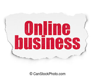Finance concept: Online Business on Torn Paper background