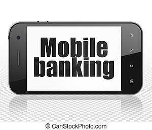 Banking concept: Smartphone with Mobile Banking on display