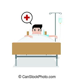 Patient man on hospital bed; vector illustration
