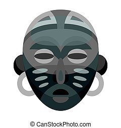 African tribal mask.African safari single icon in monochrome style vector symbol stock illustration web.