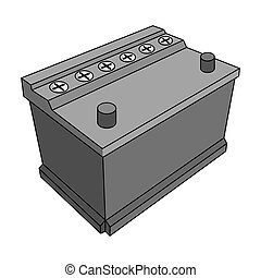 For automobile battery.Car single icon in monochrome style...