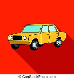 Old car.Car single icon in flat style vector symbol stock...