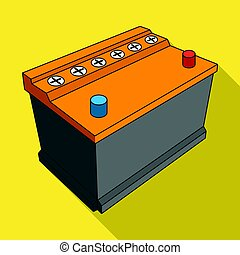 For automobile battery.Car single icon in flat style vector...
