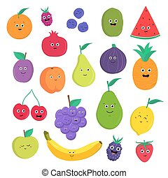 Set of cute fruits and berries with smiles. Bright vegetarian food collection on white background. Colorful vector illustration in cartoon style.