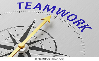 Compass needle pointing to the word Teamwork