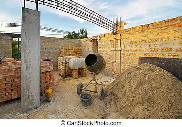Home building industry - Home building. Concrete mixer and...
