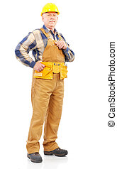 Builder - Mature handsome builder in yellow uniform....